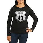 Route 40 Shield - Indiana Women's Long Sleeve Dark