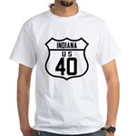 Route 40 Shield - Indiana White T-Shirt