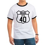 Route 40 Shield - Indiana Ringer T