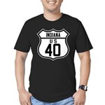 Route 40 Shield - Indiana Men's Fitted T-Shirt (da