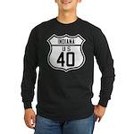 Route 40 Shield - Indiana Long Sleeve Dark T-Shirt