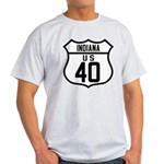 Route 40 Shield - Indiana Light T-Shirt