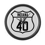 Route 40 Shield - Indiana Large Wall Clock