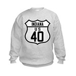 Route 40 Shield - Indiana Kids Sweatshirt
