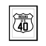 Route 40 Shield - Indiana Framed Panel Print