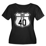Route 40 Shield - Ohio Women's Plus Size Scoop Nec