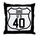 Route 40 Shield - Ohio Throw Pillow