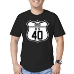 Route 40 Shield - Ohio Men's Fitted T-Shirt (dark)