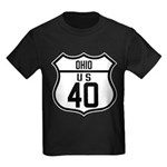 Route 40 Shield - Ohio Kids Dark T-Shirt