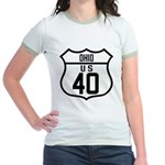 Route 40 Shield - Ohio Jr. Ringer T-Shirt
