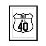 Route 40 Shield - Ohio Framed Panel Print