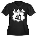 Route 40 Shield - Pennsylvani Women's Plus Size V-