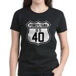 Route 40 Shield - Pennsylvani Women's Dark T-Shirt