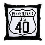 Route 40 Shield - Pennsylvani Throw Pillow