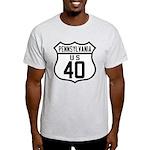 Route 40 Shield - Pennsylvani Light T-Shirt