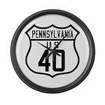 Route 40 Shield - Pennsylvani Large Wall Clock