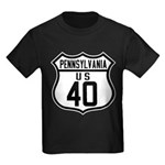 Route 40 Shield - Pennsylvani Kids Dark T-Shirt