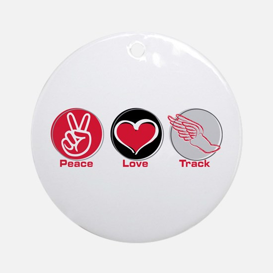 Peace Love Track Red Ornament (Round)