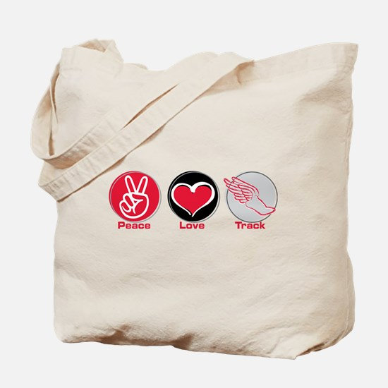 Peace Love Track Red Tote Bag