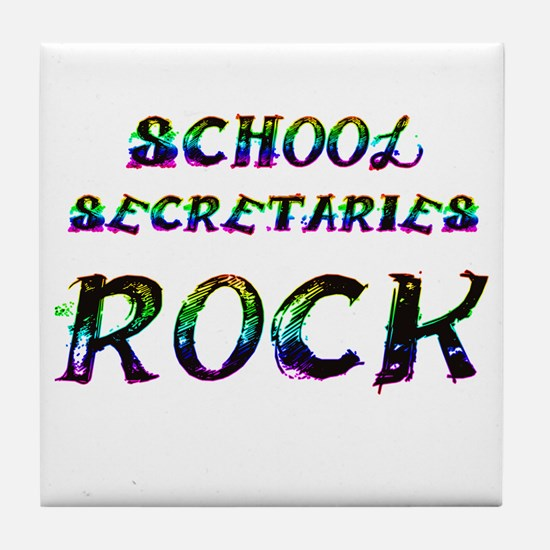 Funny School secretary day Tile Coaster