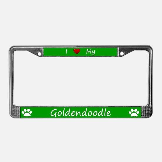 Green I Love My Goldendoodle License Plate Frame