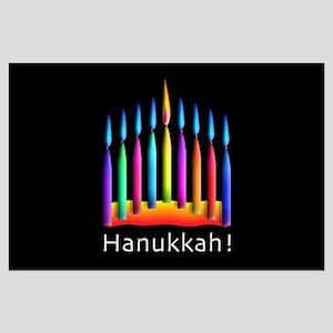 Neon Candle Hanukkah Menorah Large Poster