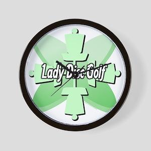 Lady Disc Golf Mint Wall Clock