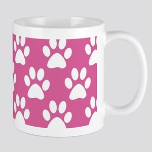 Pink and white puppy paws pattern Mugs