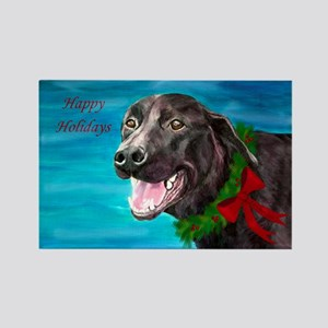 Christmas Black Lab Rescue Dog Rectangle Magnet