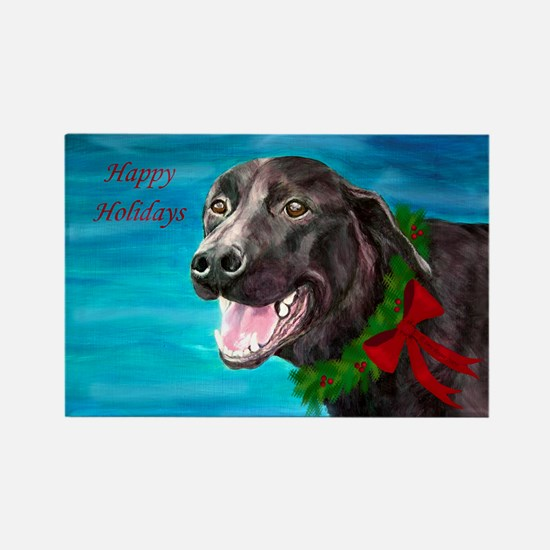 Christmas Black Lab Rescue Dog Rectangle Magnet
