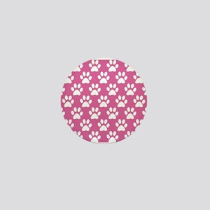 Pink and white puppy paws pattern Mini Button