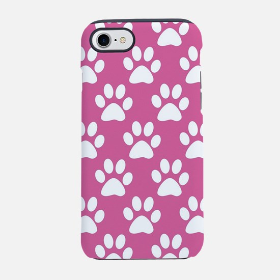 Pink and white puppy paws patt iPhone 7 Tough Case