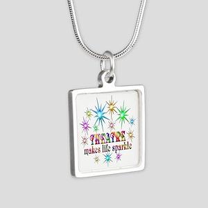 Theatre Sparkles Silver Square Necklace