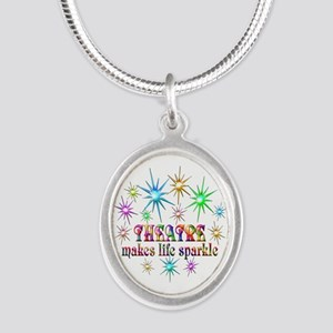 Theatre Sparkles Silver Oval Necklace