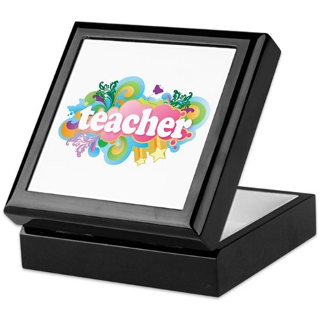 Cute Retro Teacher Keepsake Box