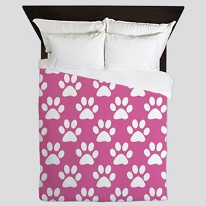 Pink and white puppy paws pattern Queen Duvet