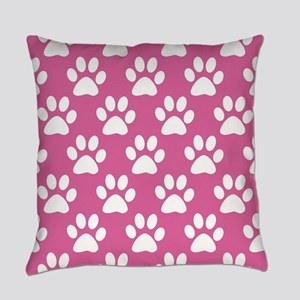 Pink and white puppy paws pattern Everyday Pillow