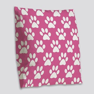 Pink and white puppy paws patt Burlap Throw Pillow