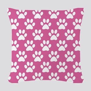 Pink and white puppy paws patt Woven Throw Pillow