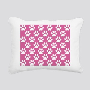 Pink and white puppy paw Rectangular Canvas Pillow
