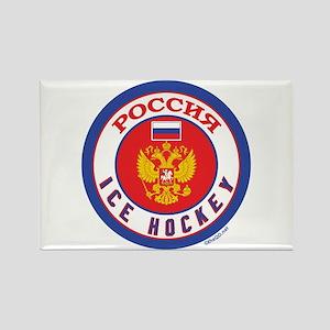 RU Russia/Rossiya Hockey Rectangle Magnet