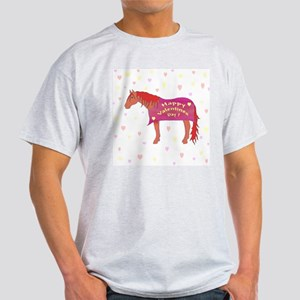 Happy Valentine Horse Ash Grey T-Shirt