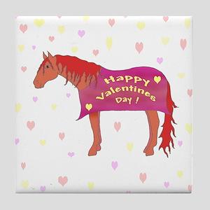 Happy Valentine Horse Tile Coaster
