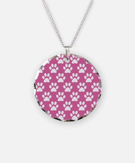 Pink and white puppy paws pa Necklace