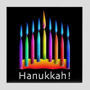 Neon Candle Hanukkah Menorah Tile Coaster