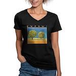 Olive Trees Women's V-Neck Dark T-Shirt