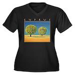 Olive Trees Women's Plus Size V-Neck Dark T-Shirt