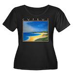 Golden Beach Women's Plus Size Scoop Neck Dark T-S