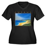 Golden Beach Women's Plus Size V-Neck Dark T-Shirt