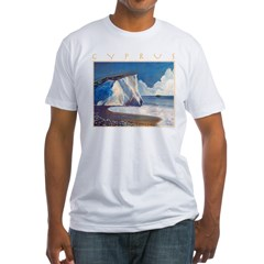 Aphrodite's Rocks, moonlight - Cyprus Fitted T-Shi